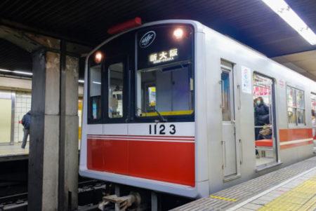 犬を大阪メトロの電車に乗せる